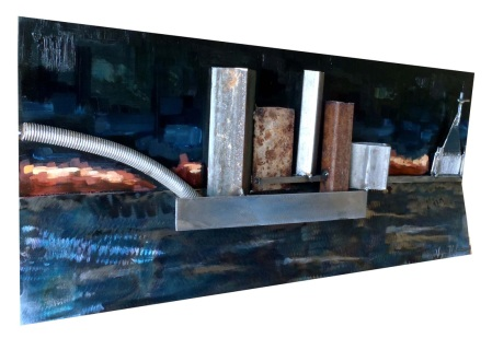 "New Orleans; 2012; steel acetylene torch, oil paint, and enamel; 24""x10""x2.5"""