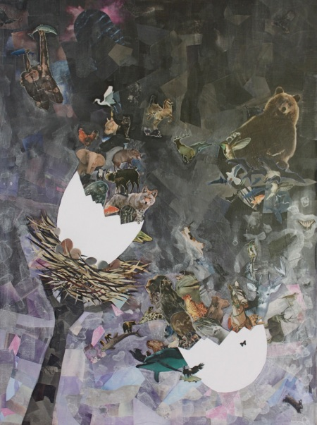 The Hatching, mixed media collage, 30W x 40H%22